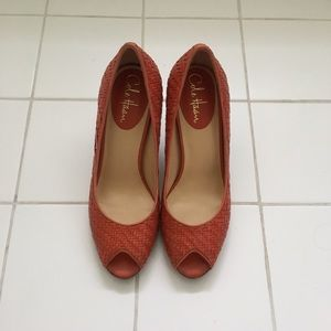 Cole Haan peep toe woven leather pumps